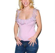 Ralph Lauren Black Label Pink Cashmere Knit Silk Ruffle Top Paisley Print Large