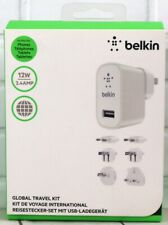 Belkin Global World Travel Adapter Kit Smartphone Tablets 2.4 Amp 12W UK EU US