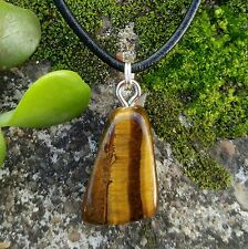 TIGERS EYE Tumbled Stone Crystal Gemstone * Strength * Courage Pendant Necklace