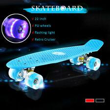 "22"" Complete Mini Cruiser Skateboard with LED Light Up Wheels for Kids Teens"