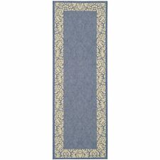 Blue/Natural Floral Indoor/Outdoor Rug 2' 3 x 12' Runner