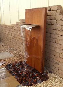 Cortenwand Wasserwand mit Edelstahlauslauf 75 cm 175/90/30 cm Cortenstahl Rost