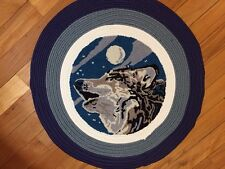 Howling Wolf Wildlife Round Braided Small Throw Rug Accent Cabin Lodge Decor