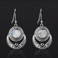 Boho 925 Silver Natural Rainbow Moonstone Gemstone Drop Dangle Hooks Earrings!!