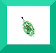 New Green Emerald & White CZ 925 Silver Pendant 18 Inch Chain FREE SHIPPING #237