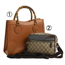 Auth GUCCI Bamboo GG Pattern Hand Shoulder Bag 2 Set Brown Vintage Italy T02676