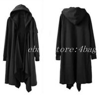 Men's New Trench Coat Hooded Cloak Cape Long Jacket Gothic Outwear Punk S-6XL