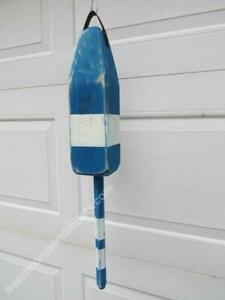 24 inch Handmade Wood Lobster Buoy Blue / White -XLB076