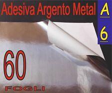 60 FOGLI A6  ADESIVO ALLUMINIO ARGENTO ETICHETTE STAMPANTE LASER PLOTTER