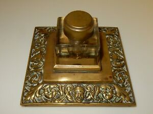 Vintage Repousse Decorated Brass Inkstand with Glass Inkwell