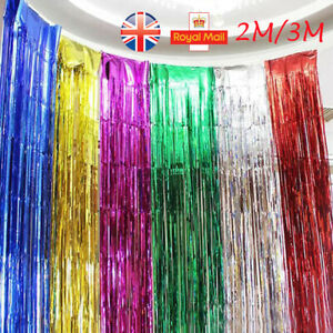 2M - 3M Long Metallic Foil Fringe Tinsel Curtain Wedding Backdrop Xmas Party