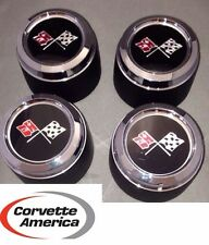 1973 - 1979 CHEVROLET CORVETTE Wheel Center Cap NEW** Cross Flags *FULL SET*