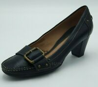 CLARKS Ladies *Black* Leather Buckle Detail Mid Heel Court Shoes Size 6 UK
