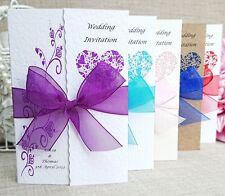 50 Gatefold Wedding Invitations with envelopes- Loads of  Ribbon colours