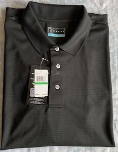 PGA Tour Polo Golf Shirt Moisture Wicking Caviar Sz L $55. Licensed NWT