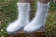 "White Socks Hand knitted natural goat fuzzy mohair angora WARM 24cm (9,5""in) M"