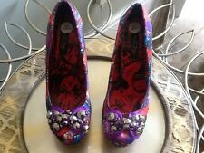 Iron Fist beautiful satin bow encrusted ladies shoes size 7