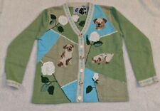 """Storybook Knits sweater """"Pug in My Garden"""" exclusively for HSN size Med"""