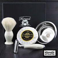 DOUBLE EDGE SAFETY RAZOR SHAVING KIT Badger Hair Shaving Brush 4 MEN GIFT SET