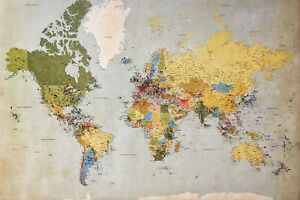 World Map Photo Picture Poster Print Earth Atlas Vintage Globe Antique