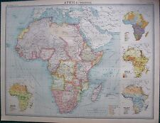 1922 LARGE ANTIQUE MAP- AFRICA - POLITICAL MAP