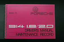 1975 Porsche 914 Owners Manual Service factory reprint maintenance adjustments