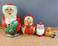Vintage Matryoshka 5pc Russian Nesting Stacking Wooden Doll Christmas Santa