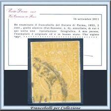 ASI 1853 Parma cent. 5 giallo n. 6 Usato Certif. Diena Antichi Stati  Italiani