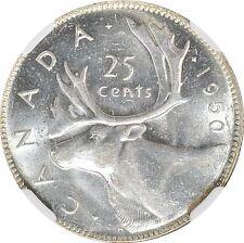 1950 25c Silver Canada NGC MS-63 Choice BU Twenty Five Cents - Low Pop Coin!