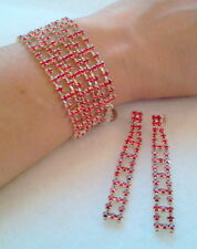 RED RHINESTONE CRYSTAL WRAP BRACELET AND MATCHING LONG EARRINGS MADE IN CZECH