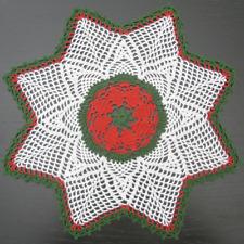"""40 cm, 15.7"""", Red, White, Green, Christmas, Crochet Doily, 617"""