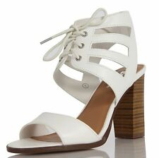 Adele White Faux Leather Open Toe Wide Strap Lace Up Chunky HIgh Heels Maysa