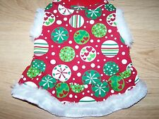 "Size XS X Small 9-11"" Red White Green Holiday Print Dog Dress Pet Costume New"