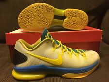 2012 NIKE ZOOM KD 5 V ELITE WHITE/TOUR YELLOW/PHPOTO BLUE WARRIORS RARE sz 9 US