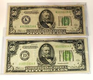 TWO OUTSTANDING 1934 US FIFTY DOLLAR BILLS