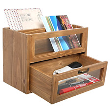 Natural Unfinished Wood Mini Office Supply Storage Cabinet File Letter Organizer