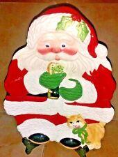 Fitz & Floyd Classic Santa & Kitty Cat Kitten Christmas Plate for Cookies Treats