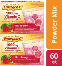 2-pack of Emergen-C Drink Mix Raspberry 1000 mg Vitamin C 30 Packets Exp 11/2021