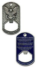 NEW U.S. Navy Sailor's Creed Bottle Opener Dog Tag.