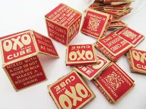 30 ORIGINAL VINTAGE OXO CUBE BOXES, CARD, UNUSED