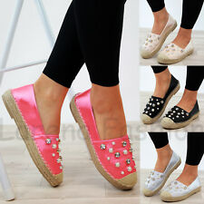 New Womens Slip On Espadrilles Pearl Holiday Sandals Comfy Ladies Shoes Sizes
