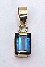 18K Yellow Gold Indicolite Brazil Blue Tourmaline Pendant