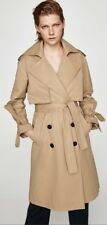 Zara Camel Long Trench Coat Size M