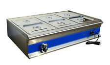 6 Pan Stainless Steel Food Warmer Steam Table 1*Warmer+6*1/2Pans