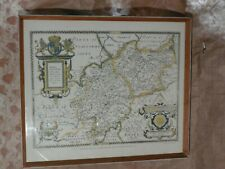 Saxton's 1576 Map Leicestershire Warwickshire~Print by Taylowe Ltd 1959~Framed