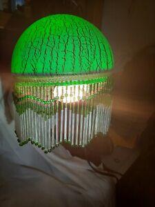Green Glass Dome Lamp Shade, Beaded Fringe NIB BL1453