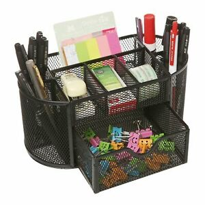 Metal Mesh Office Desk Stationary Organiser Set Pen Pencil Holder Storage Tidy