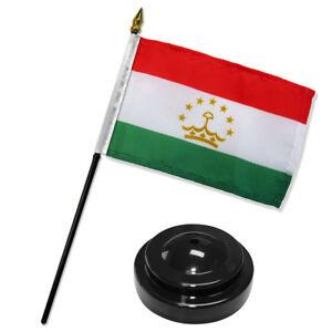 """Tajikistan 4""""x6"""" Flag Desk Set Table Stick Black Base"""