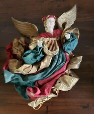 Nib Mwt Extra-Large Christmas Angel With Harp Very Rare Victorian Gold Green Red