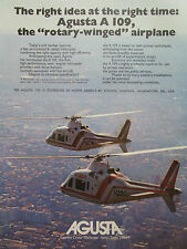 9/1976 PUB AGUSTA HELICOPTERE AGUSTA A109 HUBSCHRAUBER HELICOPTER ORIGINAL AD